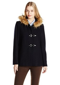 Tommy Hilfiger Women's Wool Topper Coat with Clasp and Fur Trim Hood