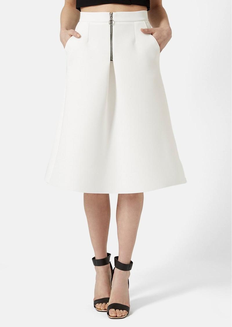 topshop topshop ali zip front midi skirt skirts shop