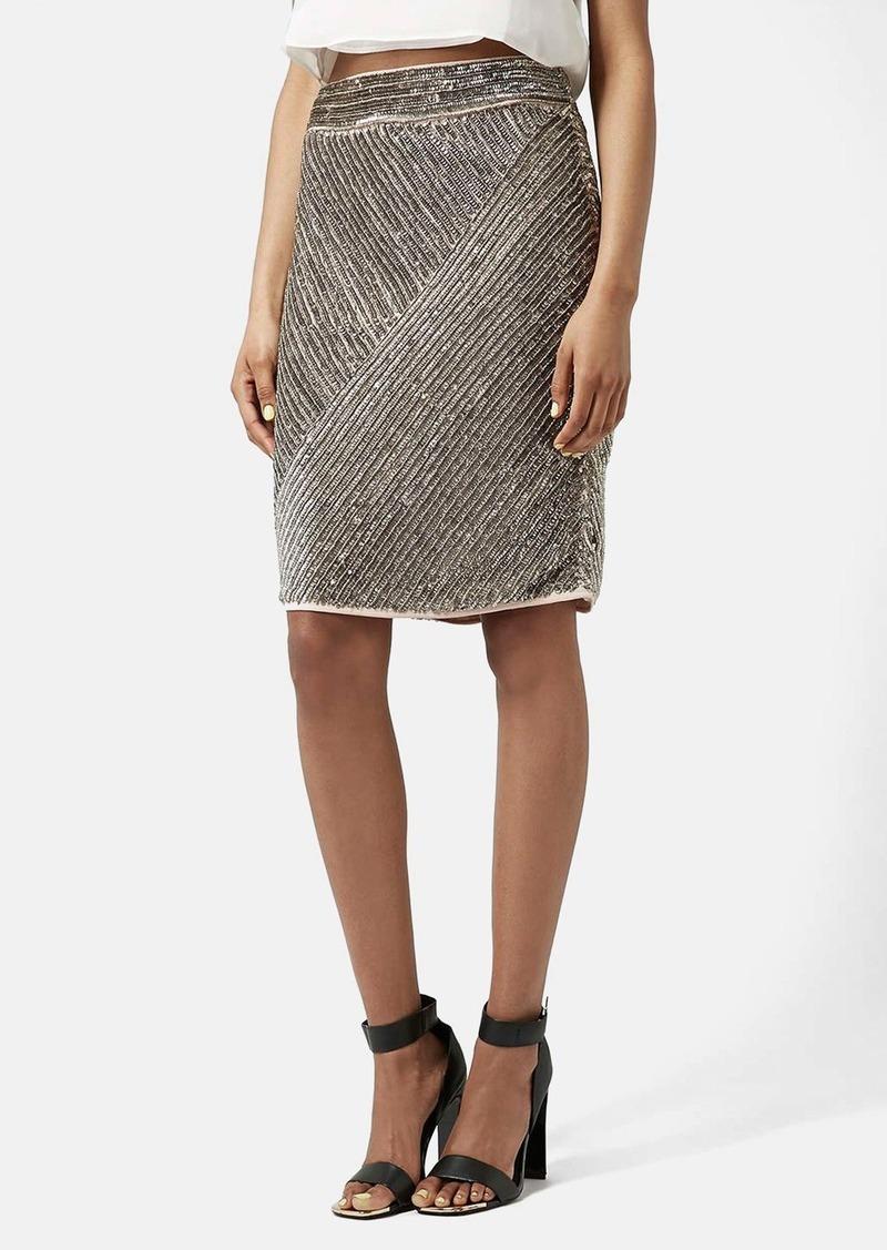 topshop topshop antique sequin pencil skirt skirts