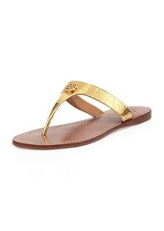 Cameron Croc-Embossed Thong Sandal, Gold   Cameron Croc-Embossed Thong Sandal, Gold