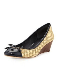 Catherine Cap-Toe Raffia Wedge, Navy   Catherine Cap-Toe Raffia Wedge, Navy
