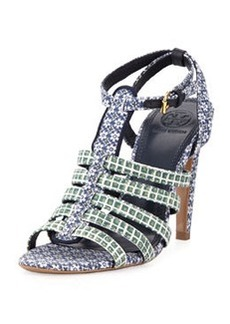 Charlene Printed Sandal, Ressoa Blue   Charlene Printed Sandal, Ressoa Blue