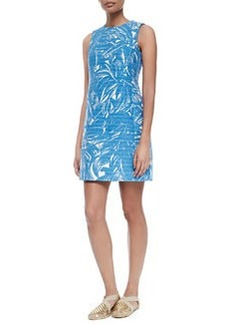 Corded Cotton/Linen Palm-Print Dress   Corded Cotton/Linen Palm-Print Dress