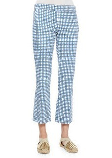 Cropped Flat-Front Plaid Pants, Blue/White   Cropped Flat-Front Plaid Pants, Blue/White