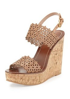 Daisy Perforated Wedge Sandal, Natural Blush   Daisy Perforated Wedge Sandal, Natural Blush