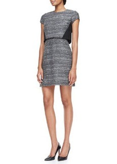 Deandra Crepe-Detail Tweed Sheath Dress   Deandra Crepe-Detail Tweed Sheath Dress