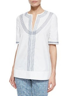 Embroidered Poplin Tunic, White/Blue   Embroidered Poplin Tunic, White/Blue