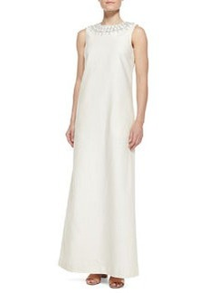 Julia Embellished-Neck Long Dress   Julia Embellished-Neck Long Dress