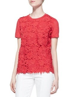 Katama Embroidered Floral Tee, Red Pepper   Katama Embroidered Floral Tee, Red Pepper