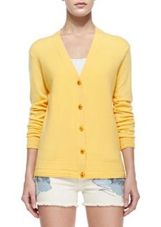 Madison V-Neck Button-Front Cardigan, Sun   Madison V-Neck Button-Front Cardigan, Sun