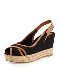 Tory Burch Majorca Peep-Toe Wedge, Black Royal