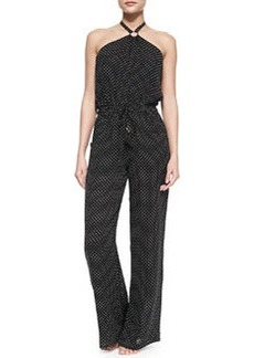 Milos Silk Polka-Dot Jumpsuit Coverup   Milos Silk Polka-Dot Jumpsuit Coverup