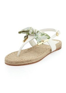 Penny Floral-Print Bow Thong Sandal   Penny Floral-Print Bow Thong Sandal