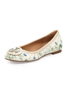Reva Botanical-Print Leather Ballerina Flat   Reva Botanical-Print Leather Ballerina Flat