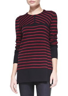 Seraphina Striped Wool Tunic Sweater   Seraphina Striped Wool Tunic Sweater