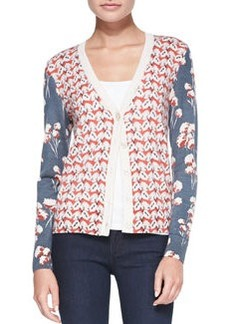 Shia Mixed-Print Wool Cardigan   Shia Mixed-Print Wool Cardigan