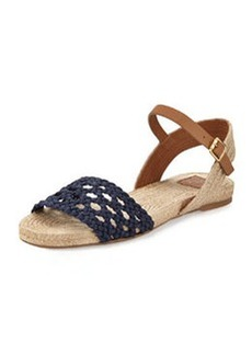 Tory Burch Solemar Flat Leather Sandal, Navy Royal