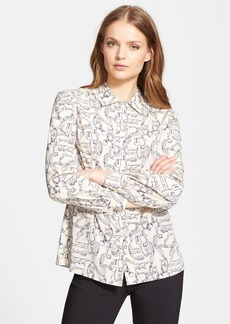 Tory Burch 'Angelique' Print Stretch Silk Blouse