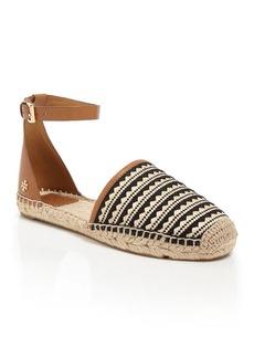 Tory Burch Ankle Strap Espadrille Flat Sanals - Mosaic