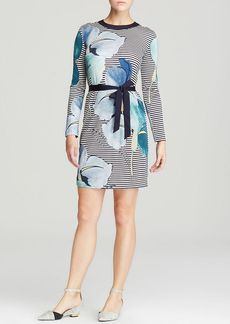 Tory Burch Annette Floral Stripe Silk Dress