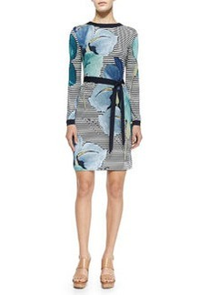 Tory Burch Annette Striped Floral Long-Sleeve Dress