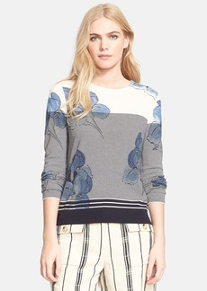 Tory Burch 'Audrianna' Print Stripe Merino Wool Sweater