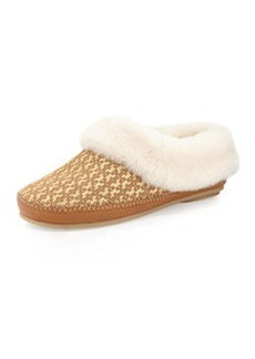 Tory Burch Belding Shearling-Lined Slipper, Gold/Tan