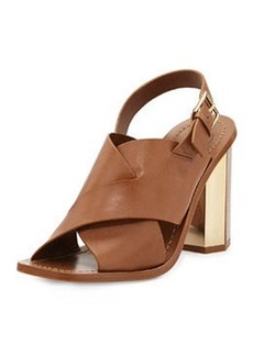 Tory Burch Bleecker Slingback Leather Sandal, Natural Bark