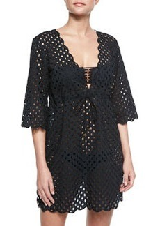 Tory Burch Broiderie See-Through Coverup Tunic