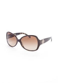 Tory Burch brown tortoise print acrylic oversized round sunglasses