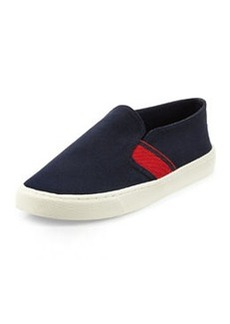 Tory Burch Canvas Stripe Slip-On Sneaker, Tory Navy