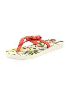 Tory Burch Carlton Logo Bow Flat Flip-Flop, Sunset/Floral