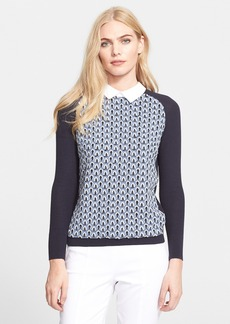 Tory Burch 'Carmine' Crochet Front Collared Sweater