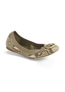 Tory Burch 'Caroline' Snake Embossed Leather Flat (Women)