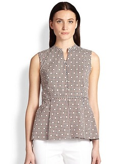 Tory Burch Checked Peplum Blouse