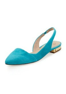 Tory Burch Classic Point-Toe Slingback Flat, Bermuda Tea