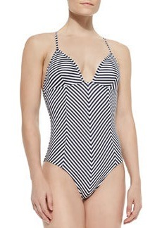 Tory Burch Clemente Striped One-Piece Swimsuit