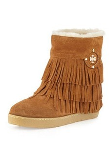 Tory Burch Collins Shearling-Lined Fringe Bootie, Havana Tan