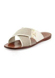 Tory Burch Culver Canvas Crisscross Slide, Natural/Ivory