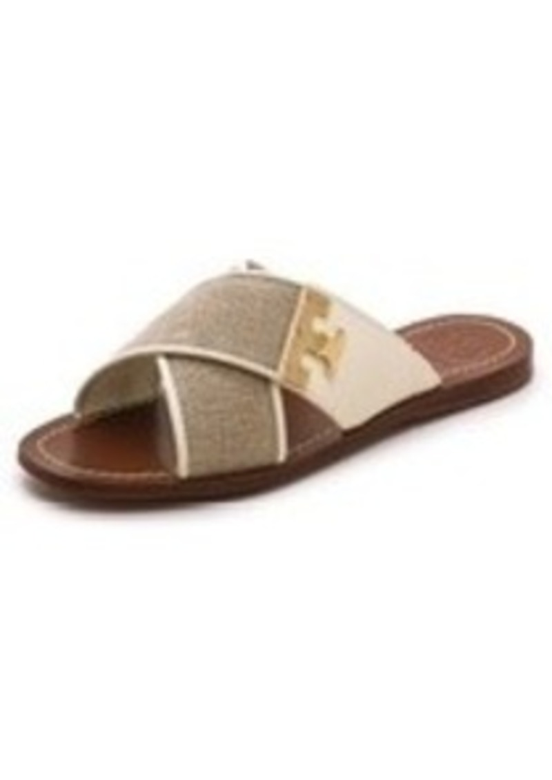 tory burch tory burch culver flat slide sandals sizes 7 5 and 5 shop it to me all sales in. Black Bedroom Furniture Sets. Home Design Ideas