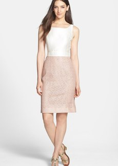 Tory Burch 'Dakota' Silk & Leather Sheath Dress