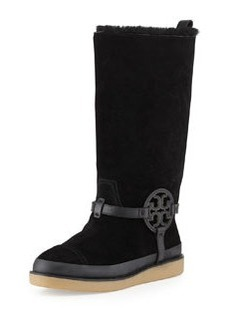 Tory Burch Dana Shearling-Lined Suede Logo Boot, Black