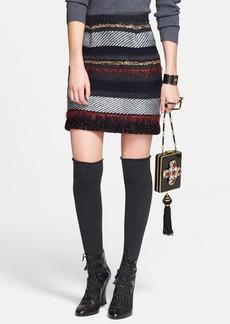 Tory Burch 'Danielle' Metallic Stripe Merino Wool Skirt