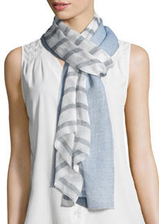 Tory Burch Double-Stripe Voile Scarf, Blue/White