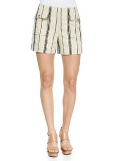 Tory Burch Edna Striped Flap-Pocket Shorts