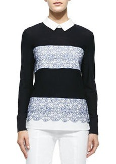 Tory Burch Edwina Embroidery Paneled Sweater