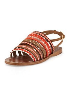 Tory Burch Embroidered Leather Sandal, Poppy Red Multi