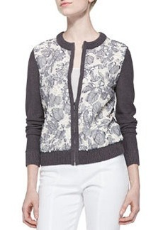 Tory Burch Etta Embroidered Zip Cardigan
