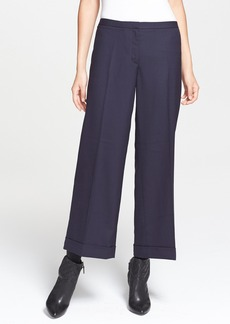 Tory Burch 'Fern' Stretch Wool Wide Leg Crop Pants
