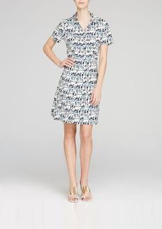 Tory Burch Figurine Print Stretch Poplin Shirt Dress